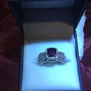 Jewelry - 14K White Gold  & Grape Garnet Center stone i